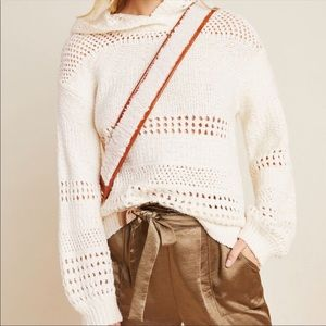 Anthropologie Pointelle hooded  sweater